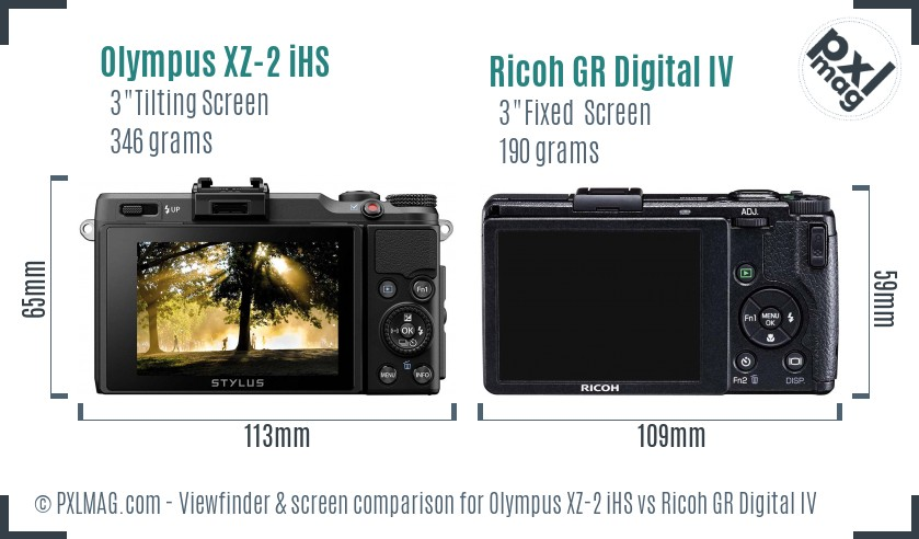 Olympus XZ-2 iHS vs Ricoh GR Digital IV Screen and Viewfinder comparison