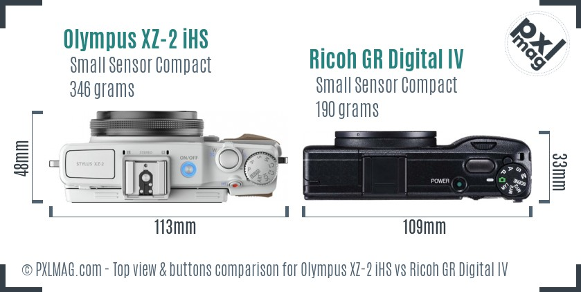 Olympus XZ-2 iHS vs Ricoh GR Digital IV top view buttons comparison