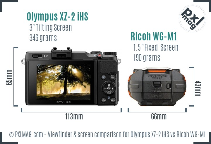 Olympus XZ-2 iHS vs Ricoh WG-M1 Screen and Viewfinder comparison