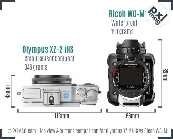 Olympus XZ-2 iHS vs Ricoh WG-M1 top view buttons comparison