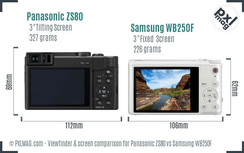 Panasonic ZS80 vs Samsung WB250F Screen and Viewfinder comparison