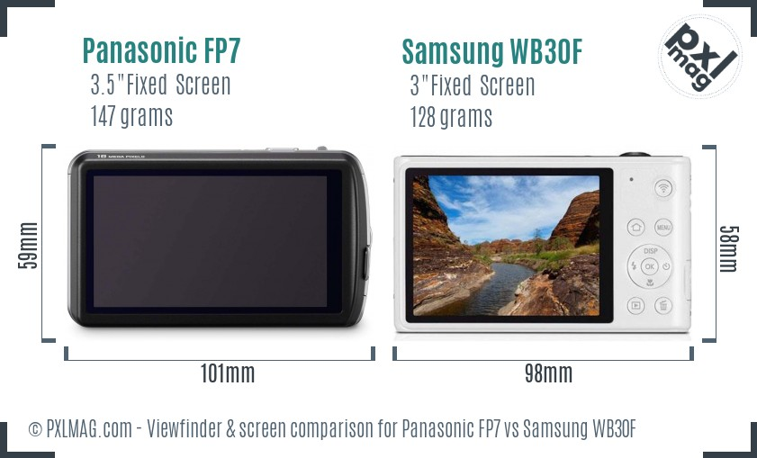 Panasonic FP7 vs Samsung WB30F Screen and Viewfinder comparison
