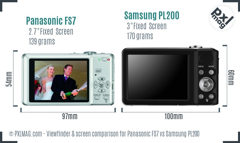 Panasonic FS7 vs Samsung PL200 Screen and Viewfinder comparison
