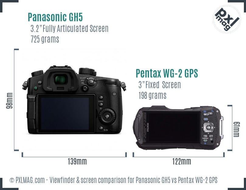 Panasonic GH5 vs Pentax WG-2 GPS Screen and Viewfinder comparison