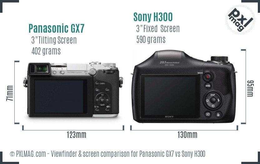 Panasonic GX7 vs Sony H300 Screen and Viewfinder comparison