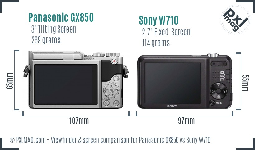 Panasonic GX850 vs Sony W710 Screen and Viewfinder comparison