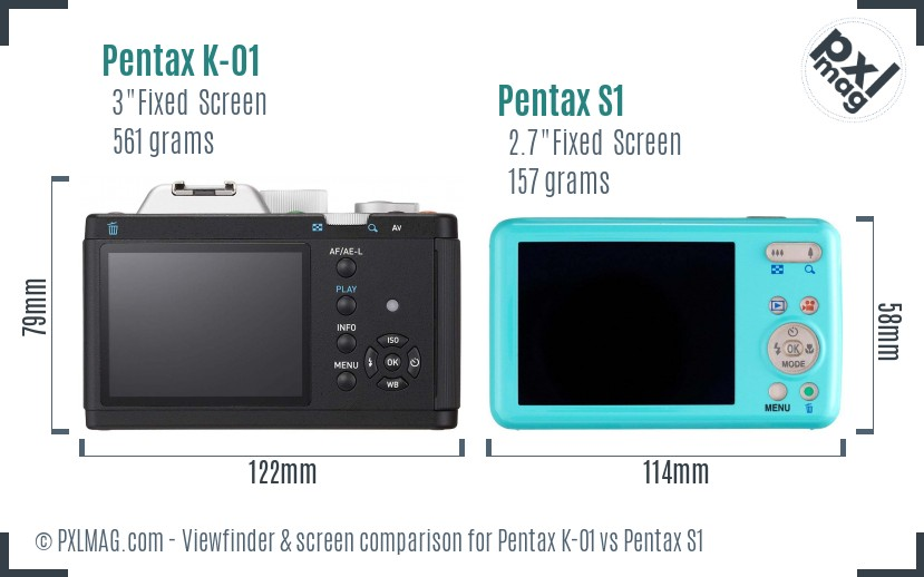 Pentax K-01 vs Pentax S1 Screen and Viewfinder comparison