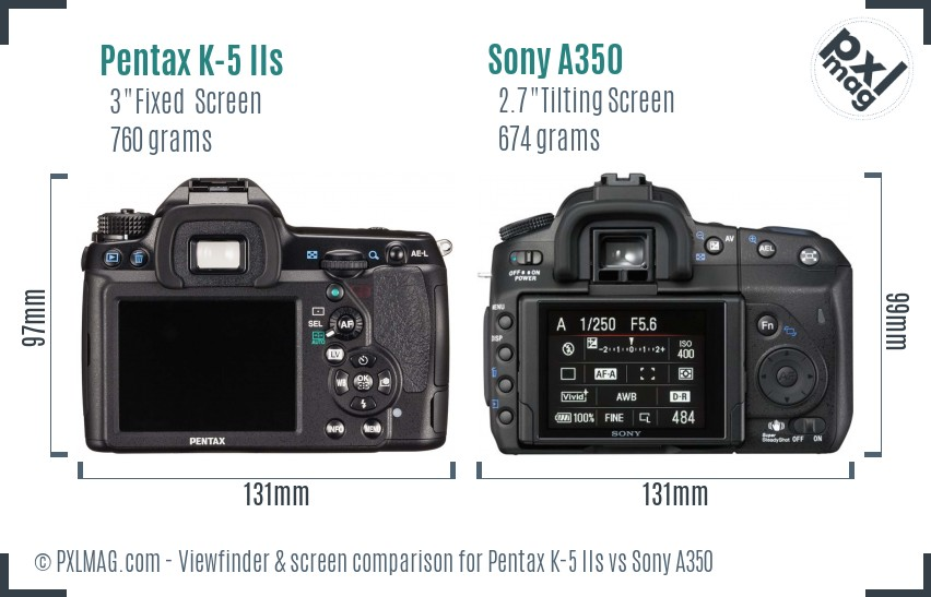 Pentax K-5 IIs vs Sony A350 Screen and Viewfinder comparison