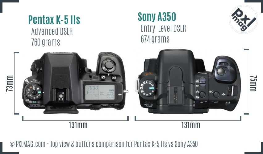 Pentax K-5 IIs vs Sony A350 top view buttons comparison