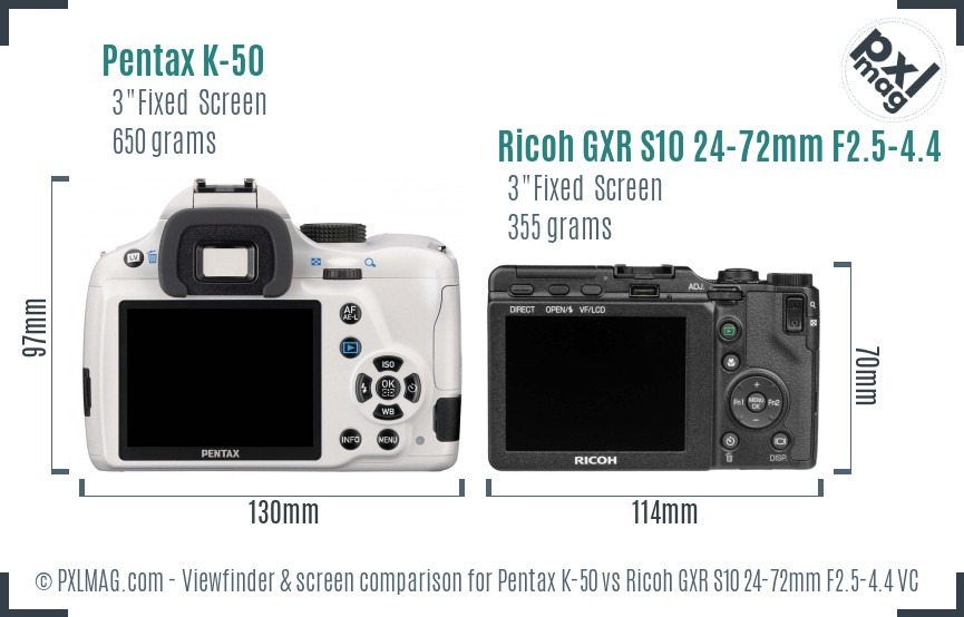 Pentax K-50 vs Ricoh GXR S10 24-72mm F2.5-4.4 VC Screen and Viewfinder comparison