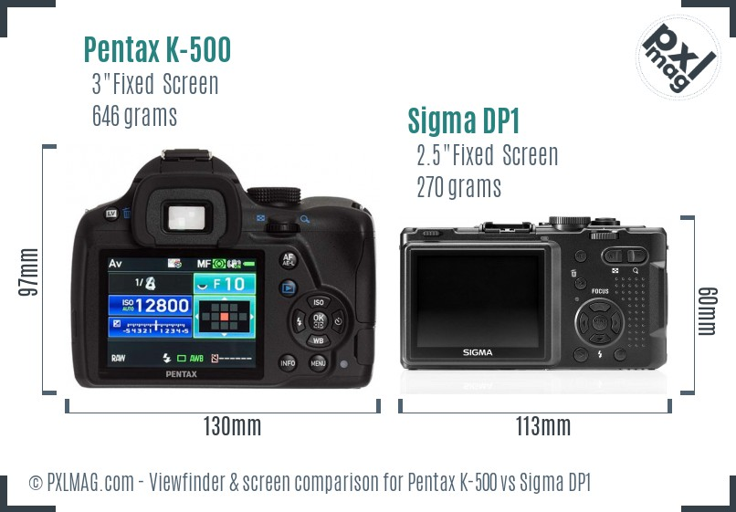 Pentax K-500 vs Sigma DP1 Screen and Viewfinder comparison