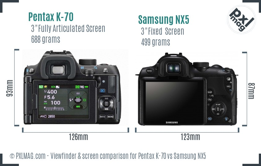 Pentax K-70 vs Samsung NX5 Screen and Viewfinder comparison