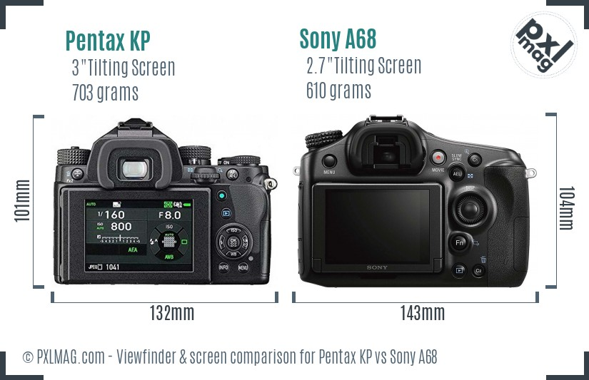 Pentax KP vs Sony A68 Screen and Viewfinder comparison