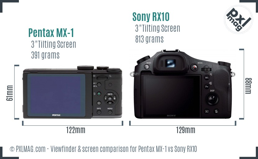 Pentax MX-1 vs Sony RX10 Screen and Viewfinder comparison