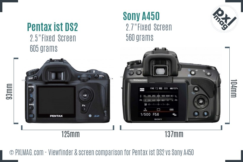 Pentax ist DS2 vs Sony A450 Screen and Viewfinder comparison