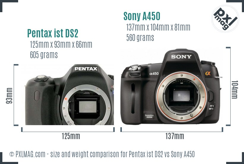 Pentax ist DS2 vs Sony A450 size comparison