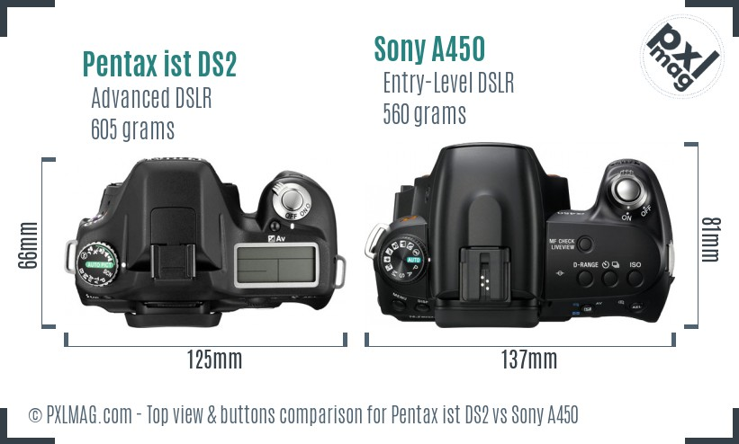Pentax ist DS2 vs Sony A450 top view buttons comparison