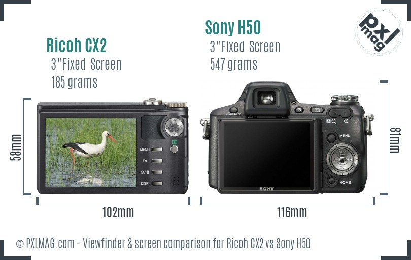 Ricoh CX2 vs Sony H50 Screen and Viewfinder comparison