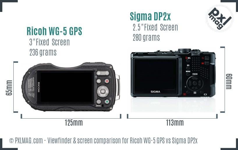 Ricoh WG-5 GPS vs Sigma DP2x Screen and Viewfinder comparison