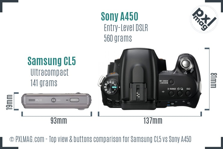 Samsung CL5 vs Sony A450 top view buttons comparison