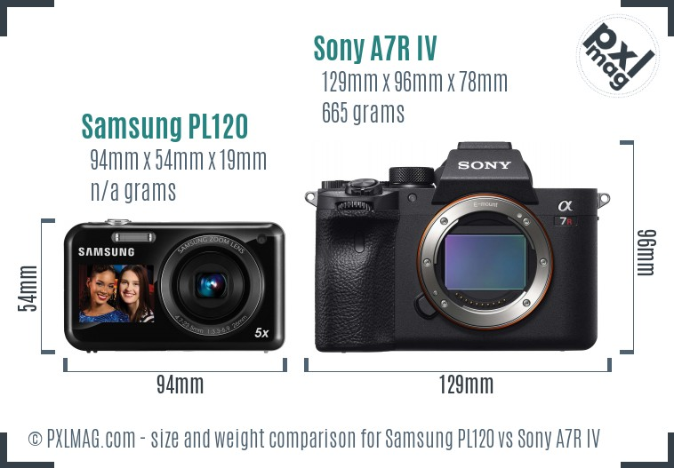 Samsung PL120 vs Sony A7R IV size comparison
