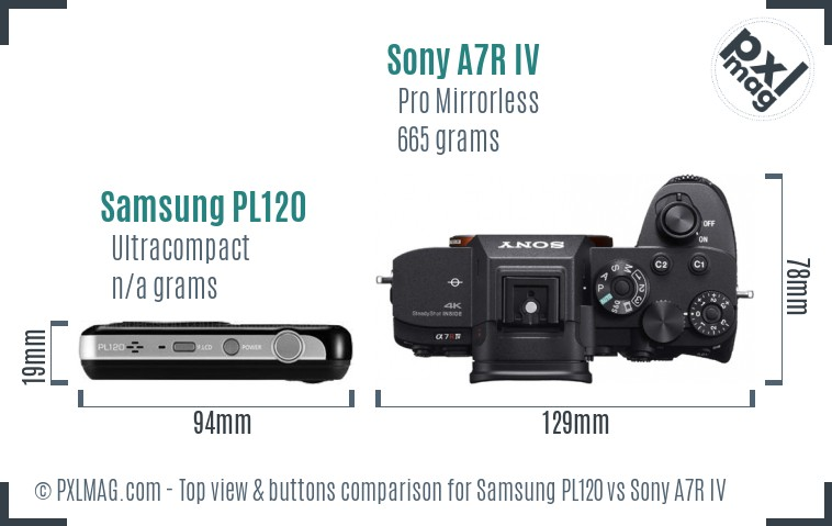 Samsung PL120 vs Sony A7R IV top view buttons comparison