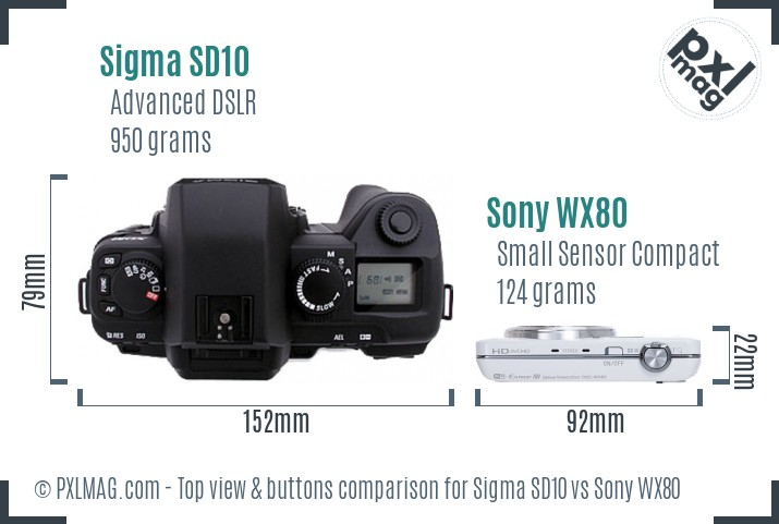 Sigma SD10 vs Sony WX80 top view buttons comparison