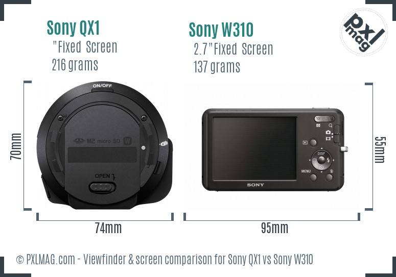 Sony QX1 vs Sony W310 Screen and Viewfinder comparison