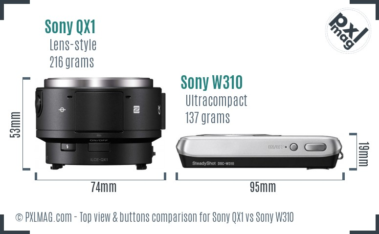 Sony QX1 vs Sony W310 top view buttons comparison