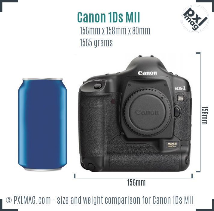 Canon EOS-1Ds Mark II dimensions scale