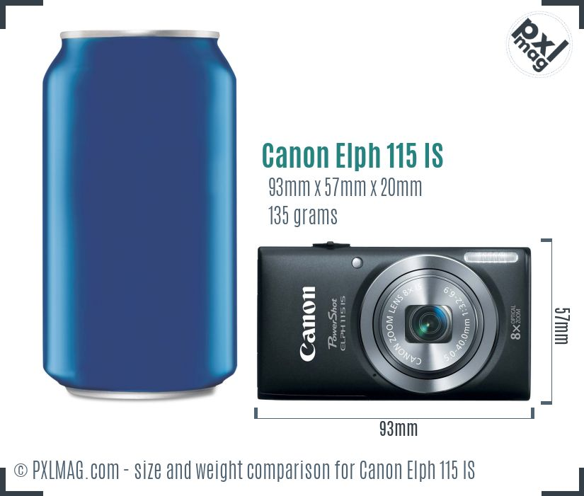 Canon Elph 115 IS dimensions scale
