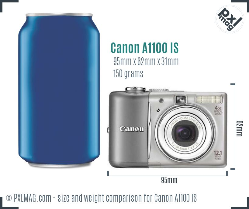 Canon PowerShot A1100 IS dimensions scale