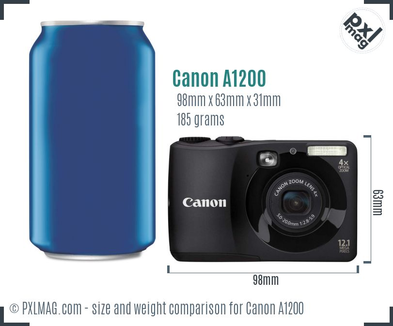 Canon PowerShot A1200 dimensions scale