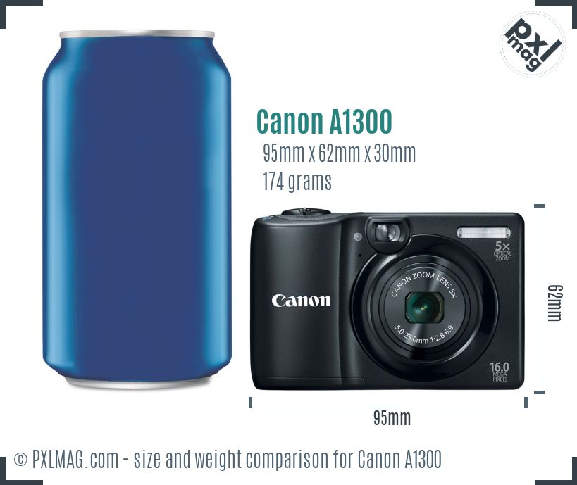 Canon PowerShot A1300 dimensions scale