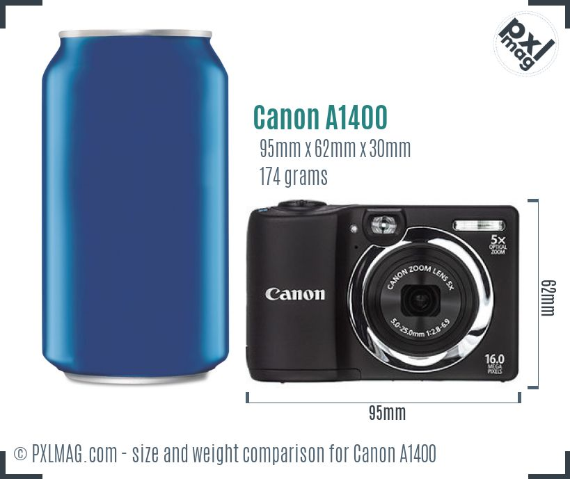 Canon PowerShot A1400 dimensions scale