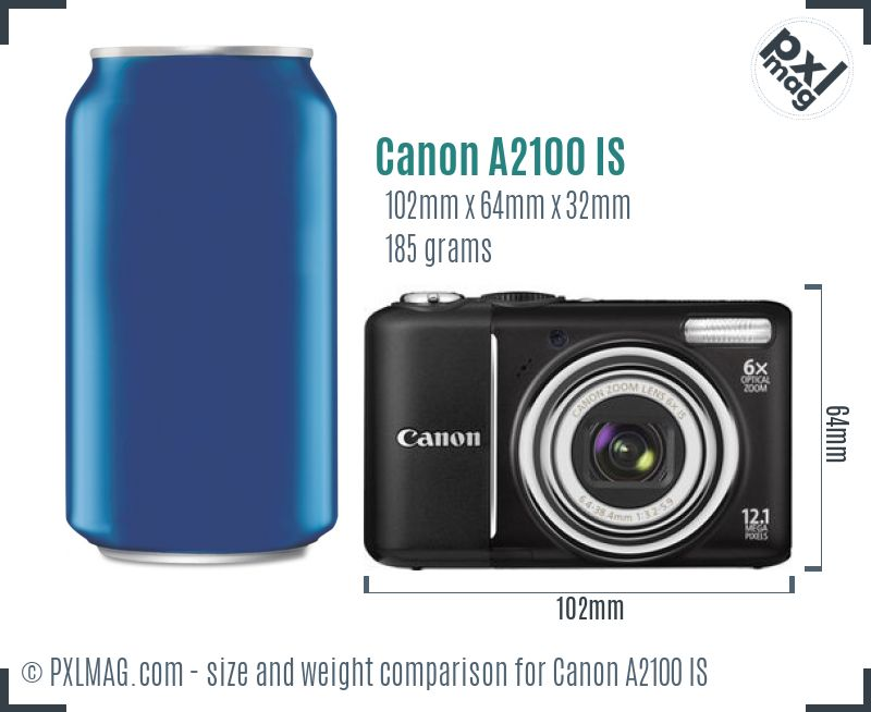 Canon PowerShot A2100 IS dimensions scale