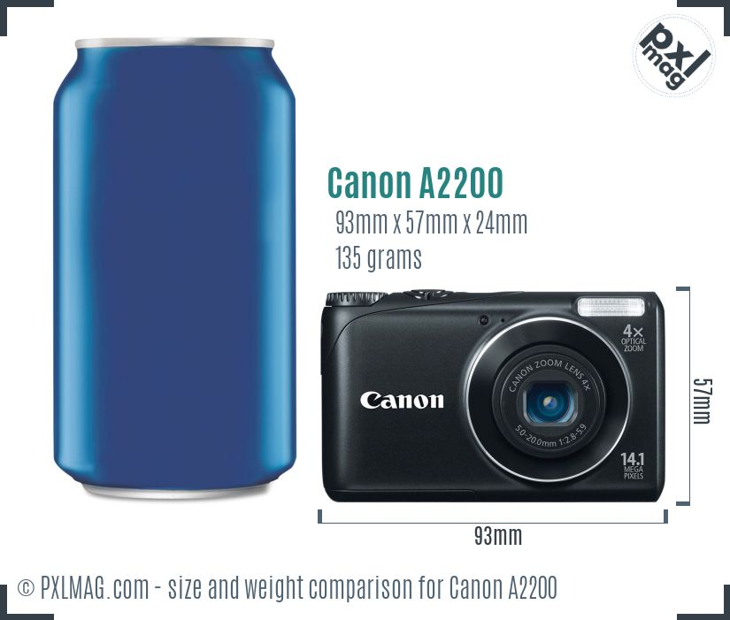Canon PowerShot A2200 dimensions scale