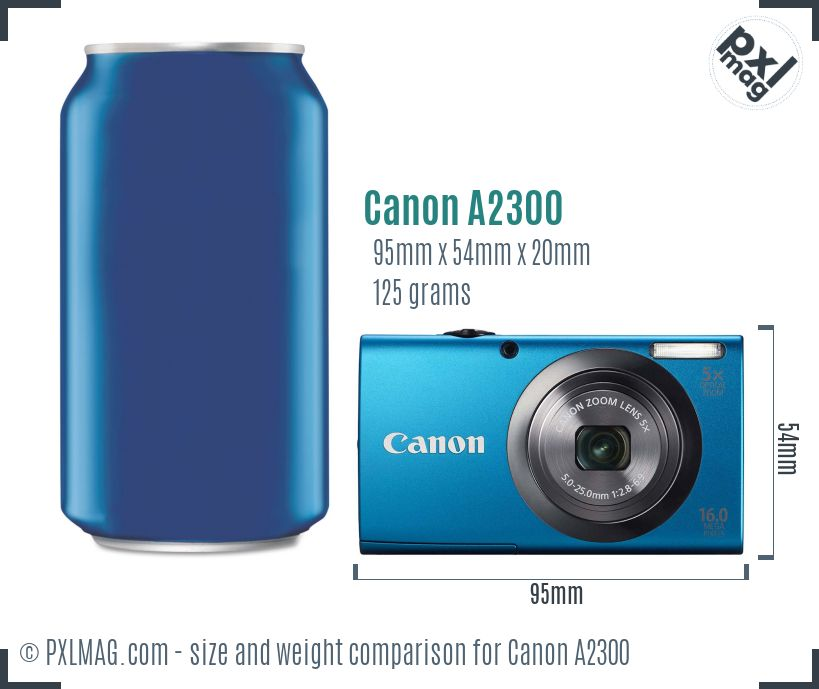 Canon PowerShot A2300 dimensions scale