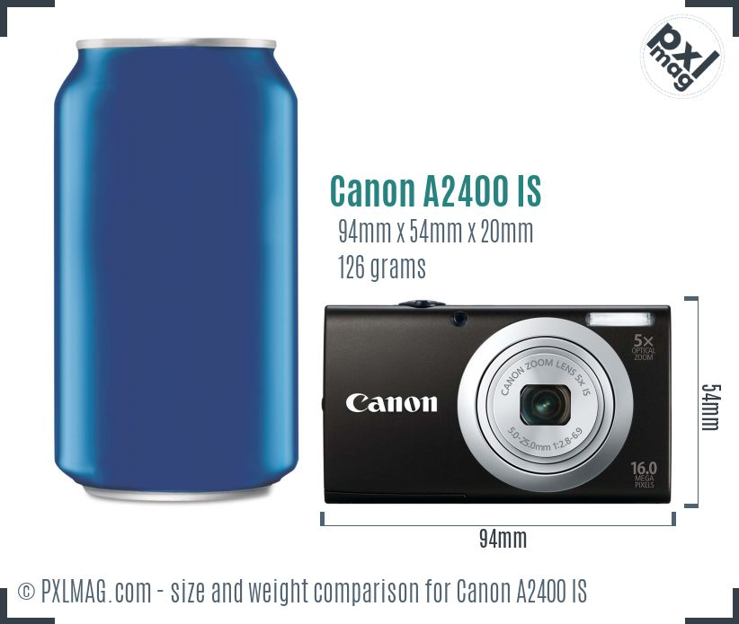 Canon PowerShot A2400 IS dimensions scale