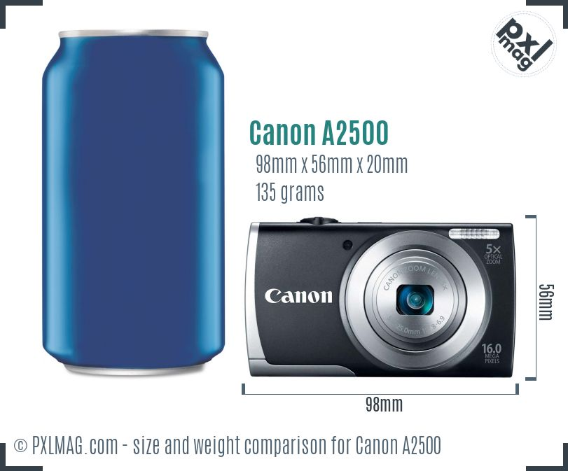 Canon PowerShot A2500 dimensions scale