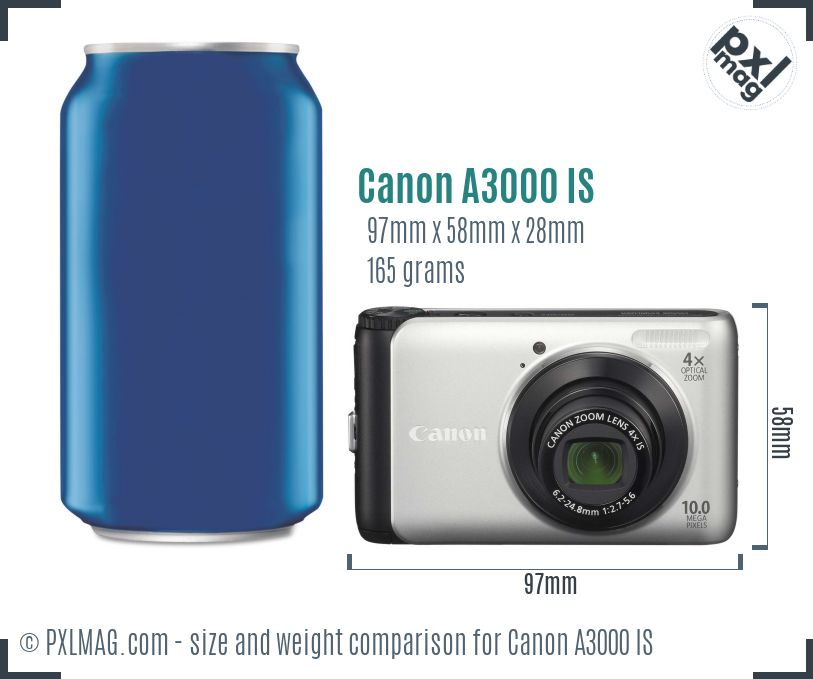 Canon PowerShot A3000 IS dimensions scale