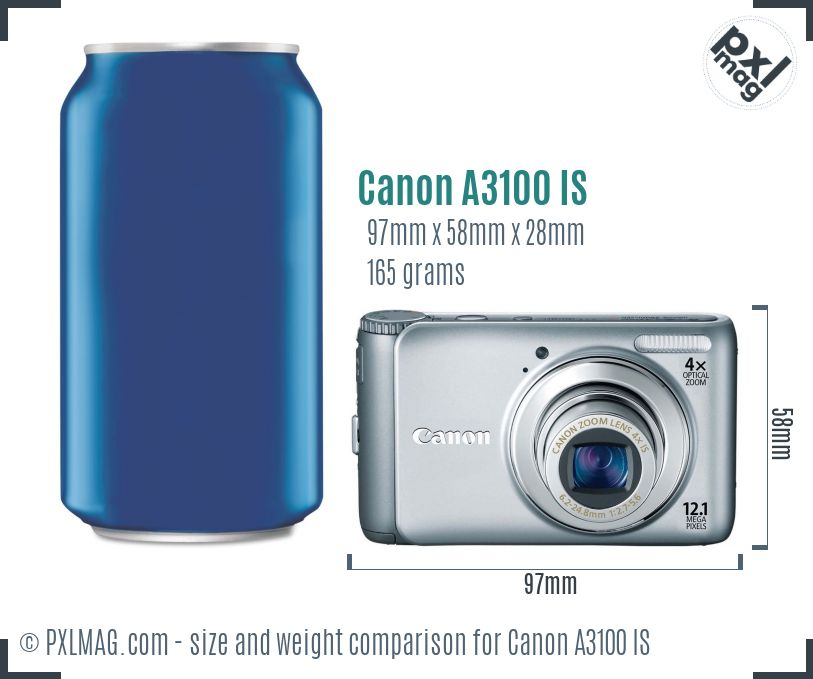 Canon PowerShot A3100 IS dimensions scale