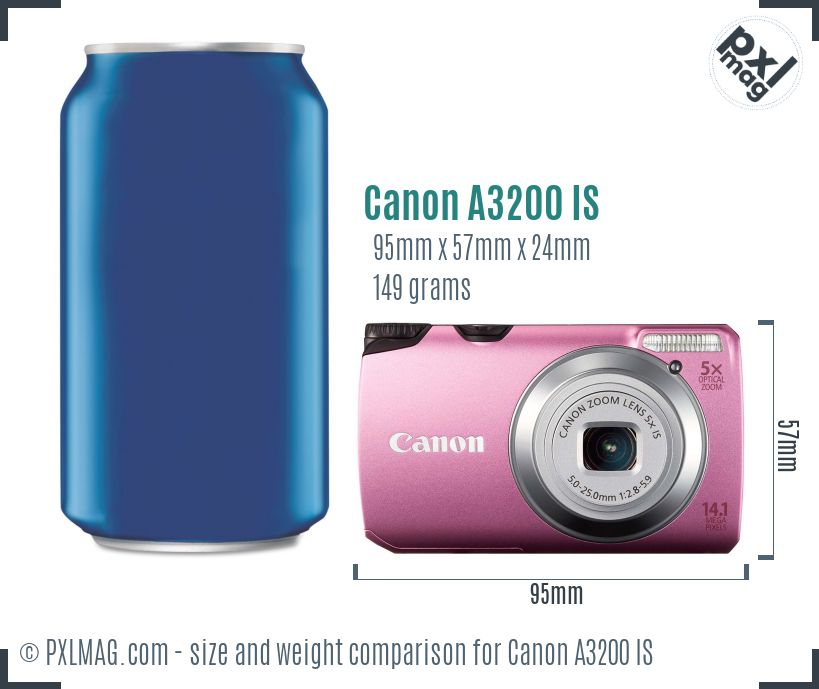 Canon PowerShot A3200 IS dimensions scale