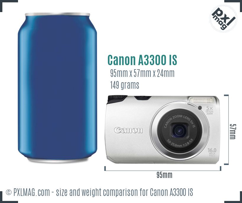 Canon PowerShot A3300 IS dimensions scale