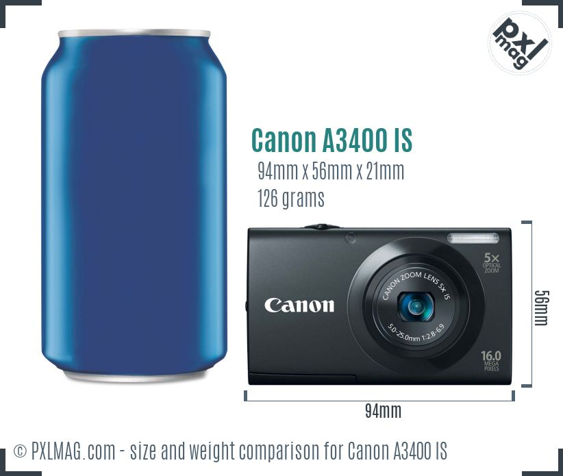 Canon PowerShot A3400 IS dimensions scale