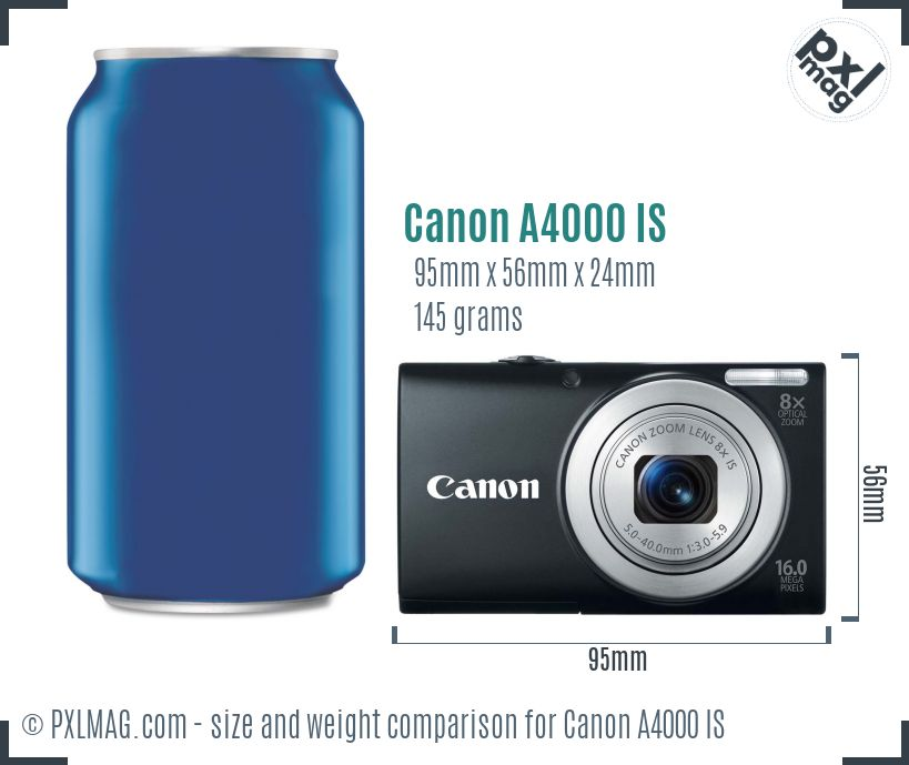Canon PowerShot A4000 IS dimensions scale