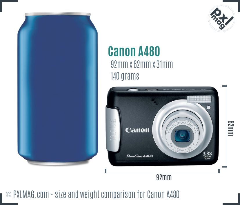 Canon PowerShot A480 dimensions scale