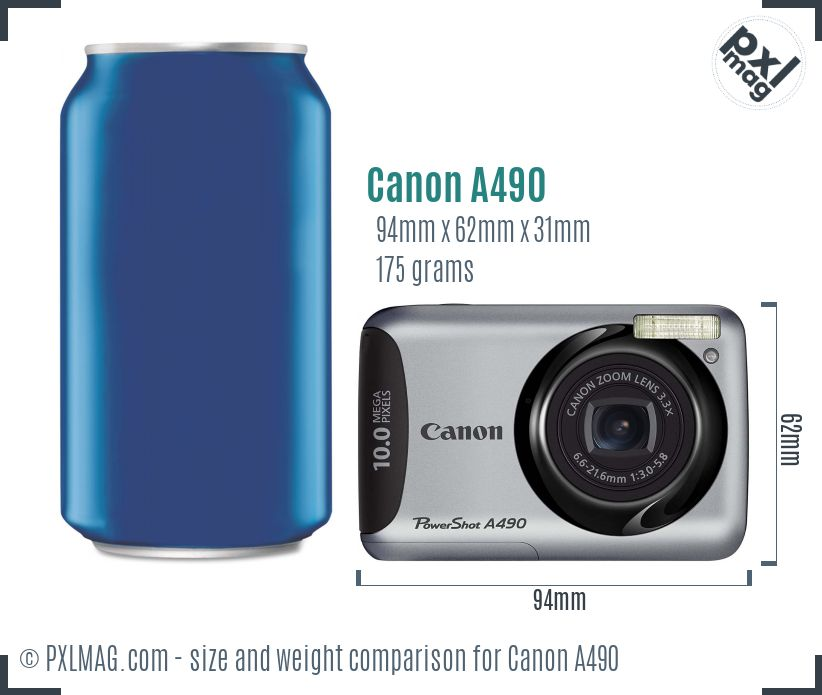 Canon PowerShot A490 dimensions scale