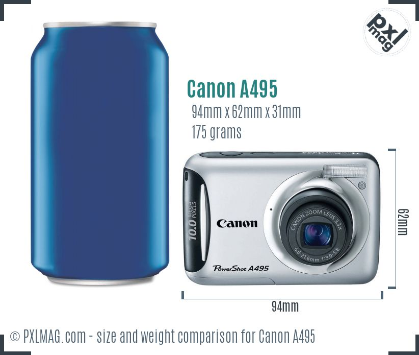 Canon PowerShot A495 dimensions scale