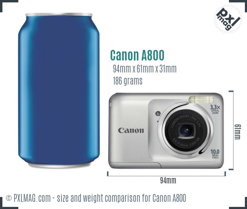 Canon PowerShot A800 dimensions scale